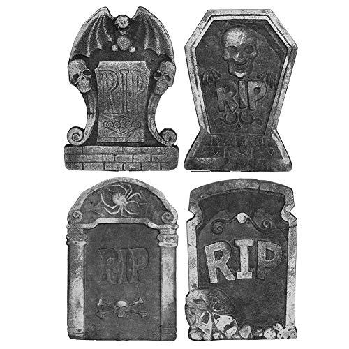 4 piezas de lápidas de espuma, accesorios de Halloween, juego de lápidas, piedra sepulcral, letrero de patio, pila de espuma de Halloween, rasgadura, cementerio, lápida, decoraciones de Halloween, láp