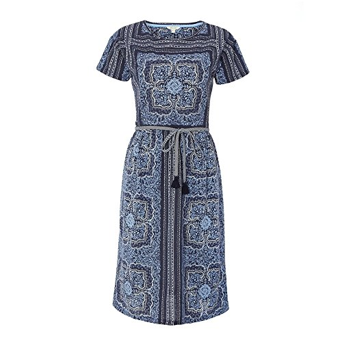 White Stuff Altweibersommer Womens Dress UK10 EU38 US6 Ink Pot Blue Print