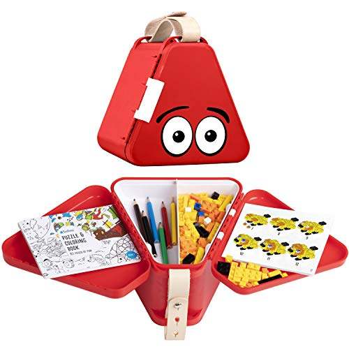 teebee - Kids Travel Toy Box | Boys & Girls Snack + Activity Tray Table for Car Seat, Plane & Stroller - Storage Suitcase for Baby Tools - Play w. Included Bricks, Puzzle Book & Colouring Pens | Red