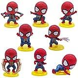Adorno de Torta Hilloly 8 Piezas Hombre Araña Cake Topper Decoración De Superhéroes Juguete Figura Cumpleaños de Avengers para Cumpleaños Decoración de La Torta del fiesta
