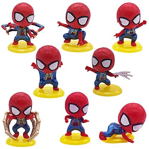 Hilloly Adorno de Torta 8 Piezas Hombre Araña Cake Topper Decoración De Superhéroes Juguete Figura Cumpleaños de Avengers para Cumpleaños Decoración de La Torta del Fiesta