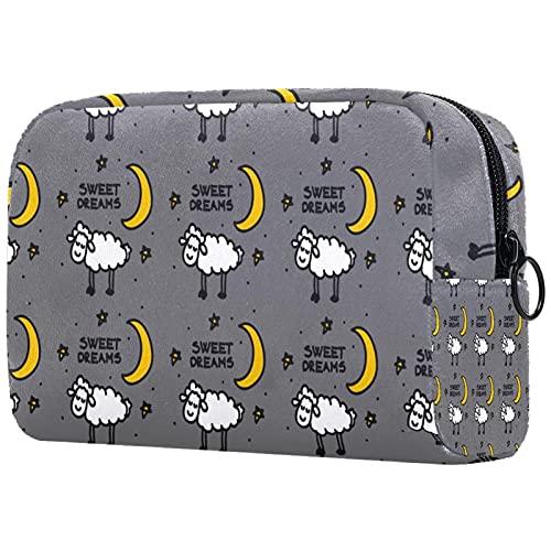 Bolsa de maquillaje para mujer y niñas, con diseño de dibujos animados para el sol y la luna, bolsa de cosméticos espaciosa con cremallera, Multicolor 09, 18.5x7.5x13cm/7.3x3x5.1in, Neceser de viaje