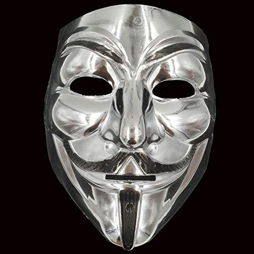 HWXDH Maschera Oro/Argento/Giallo V per Vendetta Guy Fawkes Maschera Anonimo Halloween Costumi Cosplay Forniture per Feste Creepy Brace, 19 Cm, 20 Cm