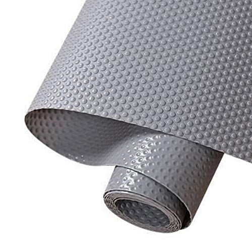 Hersvin 30cmx150cm Plastico Protector para Cocina Cajones, Alfombras Non Adhesivo para Nevera Mueble Fregadero Estante Organizador Cubiertos EVA Cubre Encimera(Gris Oscuro/Punto)