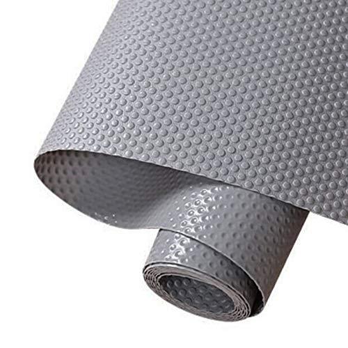 Hersvin 30cmx150cm Plastico Protector para Cocina Cajones, Alfombras Antideslizante Non Adhesivo para Nevera Mueble Fregadero Estante Organizador Cubiertos EVA Cubre Encimera(Gris Oscuro/Punto)