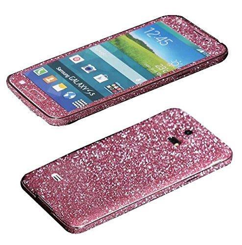 TheSmartGuard Glitzerfolie kompatibel für Samsung Galaxy S5 Folie Schutz Glitzer Glitter Bling Bling im funkelnden Pink