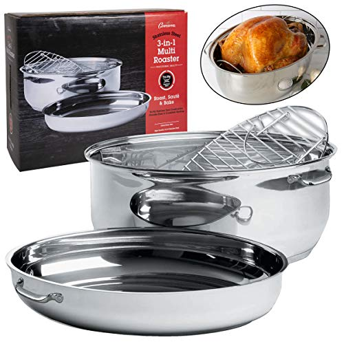 Oval Multi Roaster- 3-in-1 Stock Pot (11 QT), Turkey Roasting Pan w Rack and Saute Cookware- Stainless Steel Tri Ply, Induction Compatible w Stick Resistant Interior Covered Oval Saute Pan