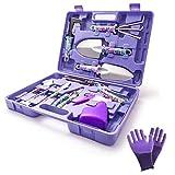 WISDOMLIFE 11-teiliges Gartenwerkzeug-Set, leichtgewichtig, mit Aufbewahrungskoffer, Garten-Geschenk-Set