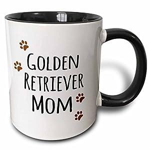 3dRose Golden Retriever Dog Mom Mug, 11 oz, Black