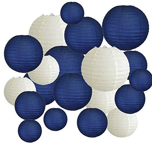 TTBD 20 PièCes SéRies 6 Pouces-12 Pouces Lanternes en Papier Assortir avec la Taille Bleu Marine Beige Chinois Lanterne en Papier Lampion pour Le Mariage de No?L éVéNement FêTe