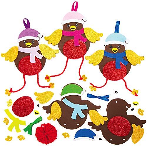Baker Ross AX345 Festliche Rotkehlchen Mix & Match Deko Anhänger Bastelset für Kinder - 8 Stück, Festliche Kreativsets und Bastelbedarf zum Basteln und Dekorieren zur Weihnachtszeit