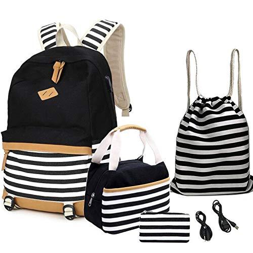 Teens School Bags,Student Canvas Bookbag,Durable Laptop Backpack Fits 16 inch Laptop with USB Charging Port & Headphone Interface, Shoulder Bag + Lunch Bag + Pencil Bag (Black-2)