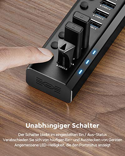 RSHTECH USB Hub Aktiv 3.0 mit 36W (12V / 3A) Netzteil, Aluminium 10 Ports USB 3.0 Hub zum Laden und zur Datenübertragung, USB 3.0 Mehrfach Ports Verteiler mit EIN/Aus-Schalter und Netzteil (RSH-A10)