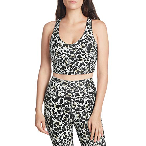Sage Activewear Sujetador Largo con Cuello en V para Mujer, Punto de Tinta, Multi, M