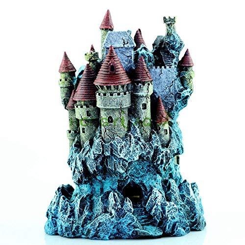Guooe Acuario Marino, Pecera Paisajismo Decoración del Acuario Casa del Castillo De Ensueño Creativo Decoración De Resina Joyería Boutique