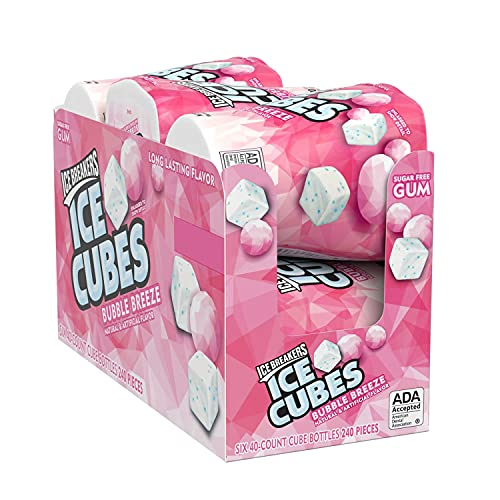 ICE BREAKERS ICE CUBES BUBBLE BREEZE Sugar Free Chewing Gum with Xylitol, Bulk, 40 Piece Bottles (6 Ct.)