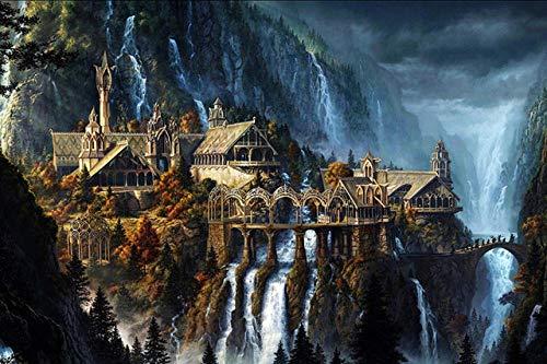 Spetich The Elf Castle Plane 1000 Piezas El Señor De Los Anillos Rompecabezas De MaderaPaisaje Para Adultos Adolescentes Rompecabezas Juguetes-38 * 52Cm-500 Pieza