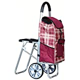 Aluminum Alloy Folding Shopping Cart with Seat, Collapsible Portable Grocery Utility Cart Luggage