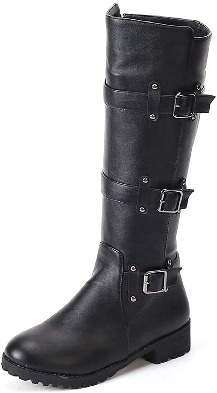 NOMIMAS Women's Mid-Calf Boots Casual Riding Equestrian shoes Belt Buckle Side Zipper Low Heel Long Martin