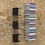 Collectible India Metal Book Shelf Invisible Wall Mount Bookshelves for Home Office Study Room Decor (Set of 3, Black)