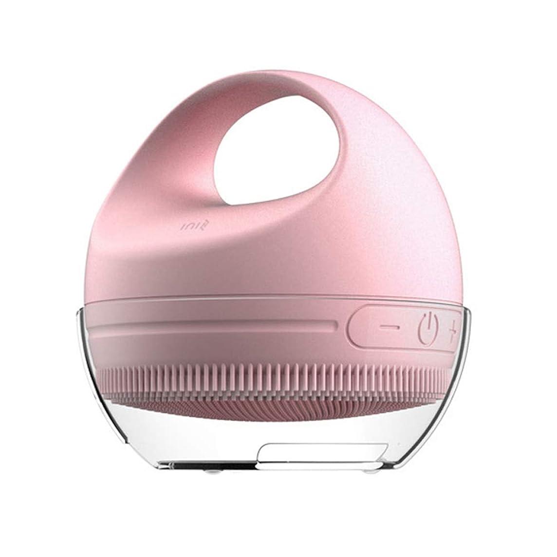 前方へ雑種リゾート電気暖かい/振動シリコーンフェイスクレンザーとマッサージブラシをアップグレードしてください自己乾燥技術を使って、滑り止めのハンドル、インテリジェントなタイミング、防水IPX6、1200 mAhバッテリ,Pink