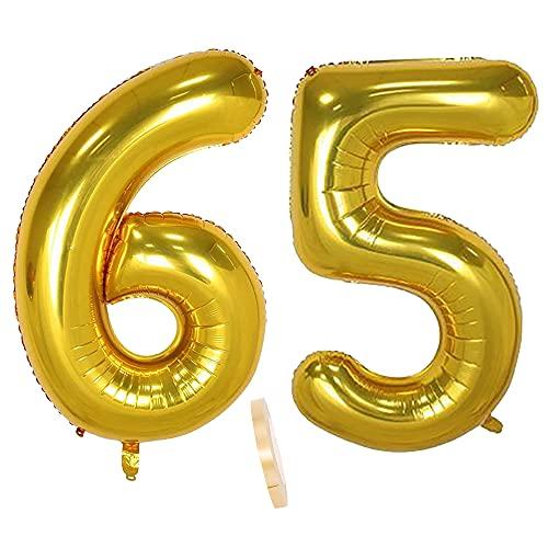 2 globos numeros 65 años, Number globo número 65 Dorado para Hombres...