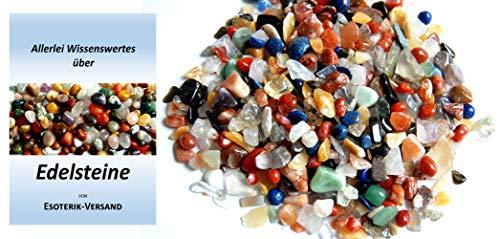 Edelsteine, polierte Trommelsteine, bunte Mischung, Größe mini, ca. 0,5-1 cm, 500 g-Beutel, incl. 36seitige Broschüre