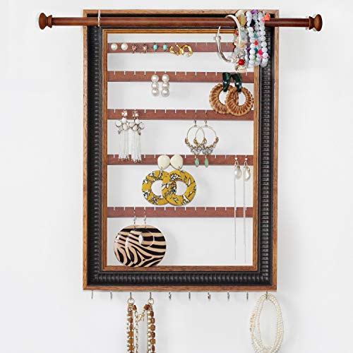 Mymazn Wood Wall Mounted Jewelry Organizer Rustic Stud Earring Hanger for Women, Girls | Wooden Jewelry Holder Display with Removable Bracelet Rod and Hook for Necklace (Dark Brown)