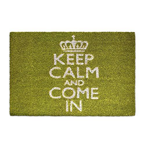 Relaxdays Fußmatte Kokos KEEP CALM 40 x 60cm Kokosmatte mit rutschfester PVC Unterlage Fußabtreter aus Kokosfaser als Schmutzfangmatte und Sauberlaufmatte Fußabstreifer für Außen und Innen Matte, grün