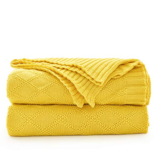 Longhui bedding Cotton Lemon Yellow Knit Throw Blanket for Couch Sofa Beach Chair Bed Home Decorative Soft Warm Cozy Cable lightweight Knitted Blankets,Yellow 50 x 60 Inch Gift a Washing Bag