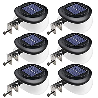 DBF Outdoor Solar Gutter Lights?Upgraded Version?Solar Fence Post Lights Wall Mount Decorative Deck Lighting with Auto On/Off Dusk to Dawn Pack of 6