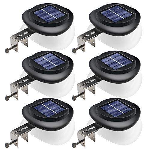 DBF Solar Gutter Lights Upgraded 9 LED Outdoor Waterproof Fence Post Lights Dark Sensing Auto On/Off Solar Deck Lights for Eaves Garden Backyard Patio, ( 6 Pack -Cool White)