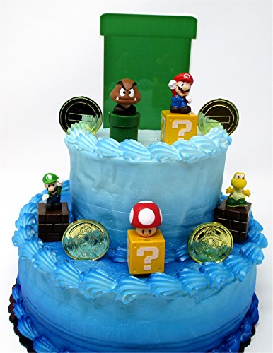 """Price comparison product image Super Mario Brothers Game Scene Birthay Cake Topper Featuring 2"""" Figures of Mario,  Luigi,  Mushroom,  Goomba,  Koopa Troopa and Decorative Themed Pieces"""