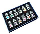 12pcs Oro Polvere Colorato Bottiglia Vetro Dip Pen Inchiostro Set Stilografica Firma Box Regalo
