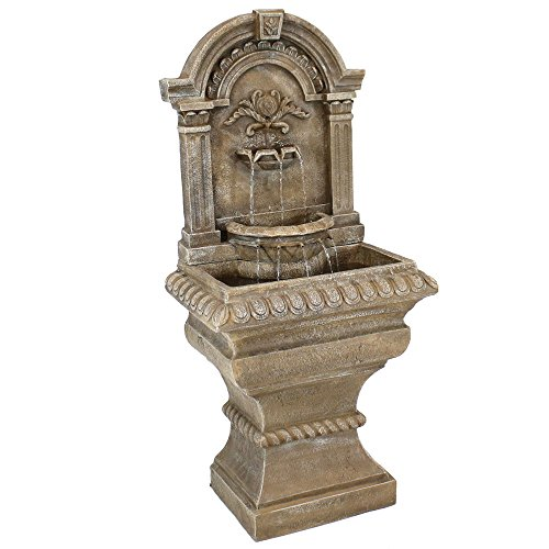 Sunnydaze Ornate Lavello Standing Wall Fountain - Outdoor Water Fountain & Waterfall Feature for Patio, Garden, Backyard - 51 Inch Tall