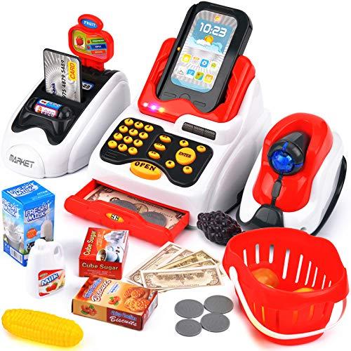 Victostar Caja Registradora Electrónica de Juguete con escáner y Accesorios Simulación Supermercado Caja registradora para niños