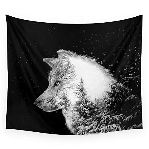 MMLUCK Tapestry Winter Wolf Wall TapestryLiving Room Bedroom Decoration (150X200cm)