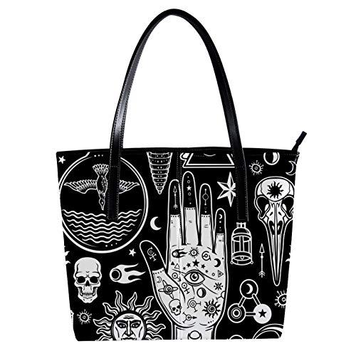 LORVIES Mains humaines dans les tatouages Symboles alchimiques crâne soleil et lune Sac à bandoulière en cuir PU et sacs à main Sac fourre-tout pour femmes