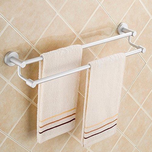 Espacio de aluminio toallero doble poste sólido grueso base de baño colgante doble poste