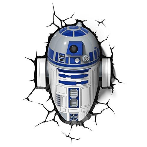 3D Light Fx 02063 Star Wars Ep7 R2D2 Lampada Led con Timer, Plastica, Multicolore, 28 x 17 x 34 cm, a pile