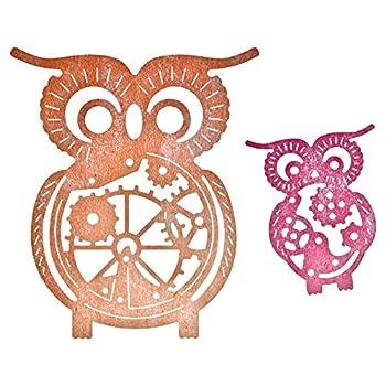 Cheery Lynn Designs B383 Steampunk Series Owls with Gears Die Cut  2 Piece Die Set