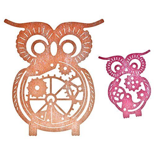 Cheery Lynn Designs B383 Steampunk Series Owls with Gears Die Cut , 2 Piece Die Set