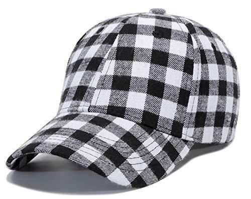 Plaid Print Baseball Cap Soft Cotton Blend Kariert Print Outdoor Hat Cap - - Einheitsgröße