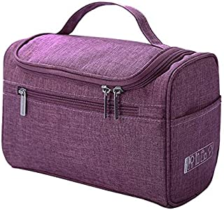 SODIAL Cosmetic Bag Double Zipper Women Cosmetic Case Travel Organizer Portable Beautician Essential Ladies Makeup Bags Package Purple