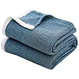 SE SOFTEXLY Cotton Blanket, 3-Layer Soft Blue Throw Blankets for Couch/Bed, Light Comfortable Cotton Muslin Blanket for All Season