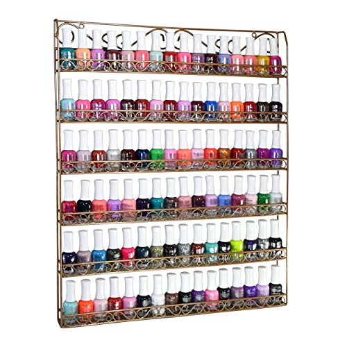 AMT Metal Nail Polish Racks for the Wall, CLEAR Nail Polish Display, Young Living Essential Oils Organizer. Holds up to 108 Bottles (Bronze)