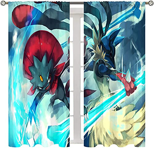 SSKJTC Printed Curtains for Bedroom Anime Pokemon Lucario Fighting Chic Cloth bedroom livingroom Curtain W55xL63 Inch