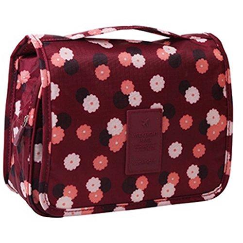 Creative Motif Vin rouge Fleur Pliable sac cosmétique sac à main
