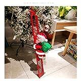 Huemny Figurine électrique de Père Noël grimpant sur une échelle de Noël en peluche électrique avec musique