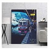 Suuyar Bilder Wandkunst Poster Mond Trackless Bahnhof